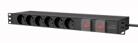 "CAYMON PSR269FS/B 19"" power distribution unit - French 6 x front sockets + 9 x rear sockets - Double switched Black version"